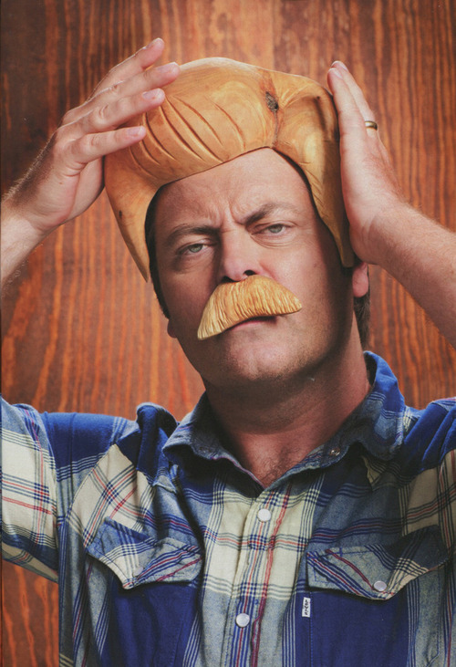 Ron Swanson wooden hair wig
